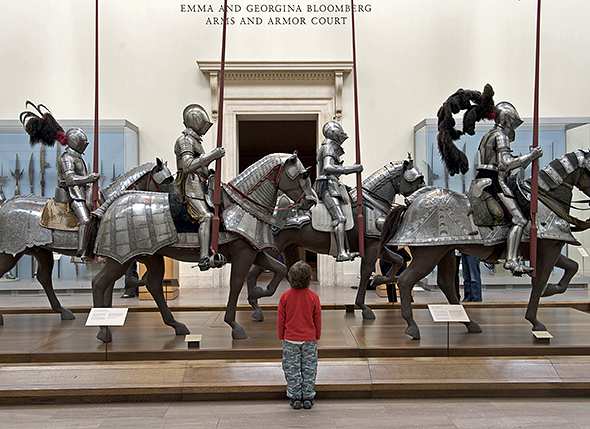 United States, New York City, Manhattan, East Side, Metropolitan Museum of art (MET), courtyard of Equestrian armours