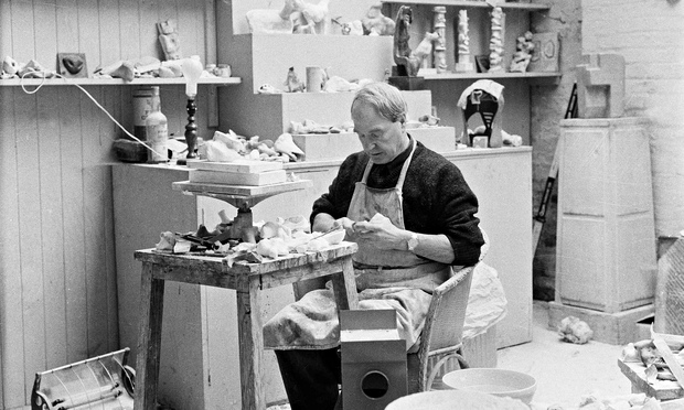 Henry Noore at work at his studio, Perry Green, c1960.