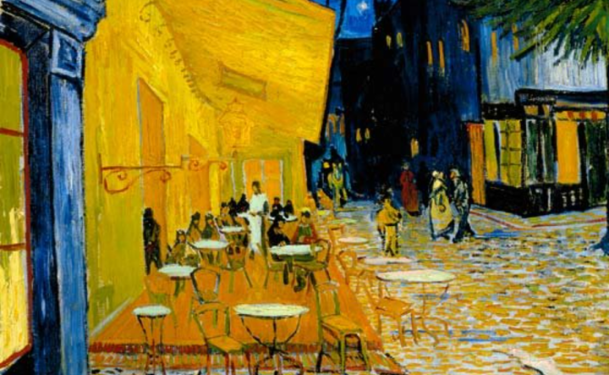 Terrace of a cafe at night