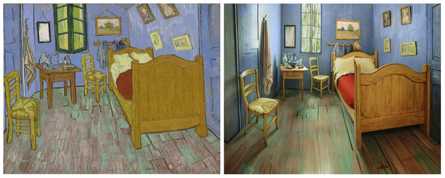 "This combination of photos provided Feb. 10, 2016 by The Art Institute of Chicago shows, at left, a painting of Vincent van Gogh's ""The Bedroom."" At right is a Feb. 8, 2016 photo of a one-bedroom apartment in Chicago decorated to look like Van Gogh's painting of his bedroom in the south of France. The room in Chicago's River North neighborhood is listed on Airbnb as if the artist himself were renting it for $10 a night. It's a promotion for the museum's ""Van Gogh's Bedrooms"" exhibition, which opens Sunday, Feb. 14 and runs through May 10. (Art Institute of Chicago via AP)"